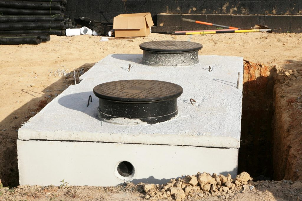 under installation concrete septic tank